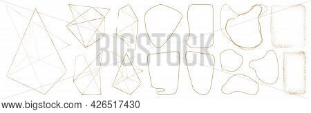 Abstract Geometric Shapes And Figures With Golden Lines And Glittering Texture. Isolated Set Of Deco