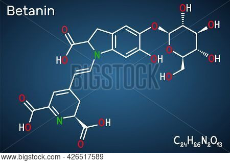 Betanin, Molecule. It Is Betalain Plant Pigment, Red Glycosidic Food Dye, E162. Structural Chemical