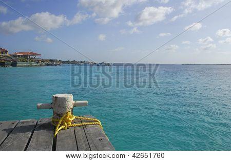 Mooring Bollard On A Wooden Dock In The Caribbean.