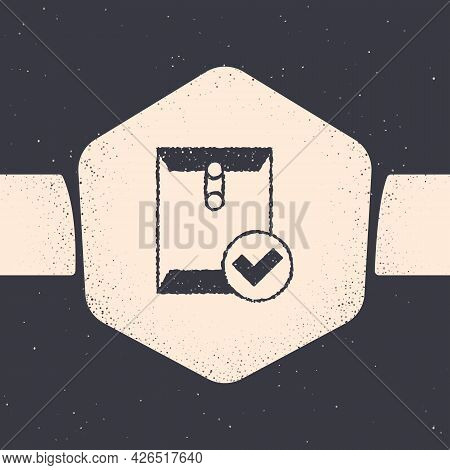 Grunge Envelope And Check Mark Icon Isolated On Grey Background. Successful E-mail Delivery, Email D