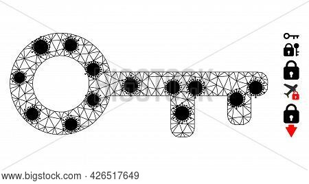 Mesh Key Polygonal Symbol Vector Illustration, With Black Infection Centers. Abstraction Is Based On