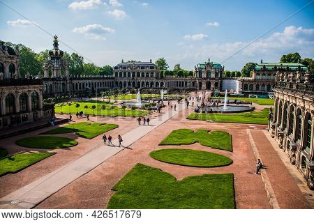 17 May 2019 Dresden, Germany -  The Courtyard Of Zwinger, Famous Palace And Museum In Dresden, Germa