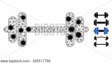 Mesh Barbell Polygonal Symbol Vector Illustration, With Black Covid Centers. Carcass Model Is Create