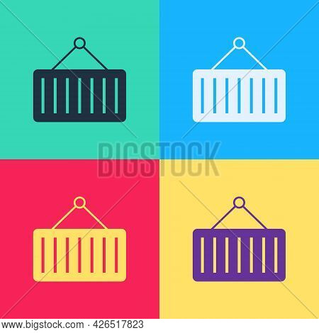 Pop Art Container On Crane Icon Isolated On Color Background. Crane Lifts A Container With Cargo. Ve