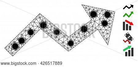 Mesh Growing Trend Arrow Polygonal Icon Vector Illustration, With Black Coronavirus Nodes. Carcass M