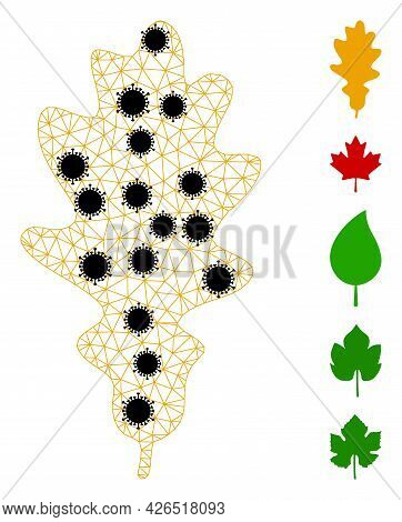 Mesh Oak Leaf Polygonal Icon Vector Illustration, With Black Infectious Elements. Model Is Created F