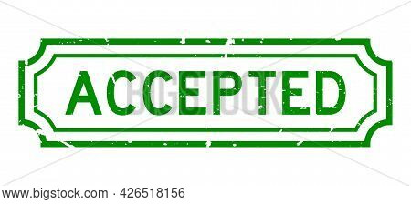 Grunge Green Accepted Word Rubber Seal Stamp On White Background