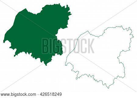 Bikaner District (rajasthan State, Republic Of India) Map Vector Illustration, Scribble Sketch Bikan