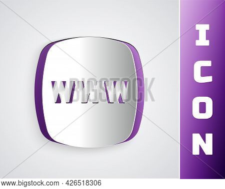 Paper Cut Website Template Icon Isolated On Grey Background. Internet Communication Protocol. Paper