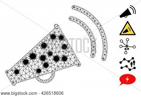 Mesh Marketing Horn Polygonal 2d Vector Illustration, With Black Infection Nodes. Carcass Model Is B