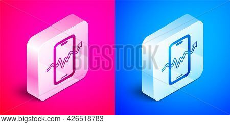 Isometric Mobile Stock Trading Concept Icon Isolated On Pink And Blue Background. Online Trading, St