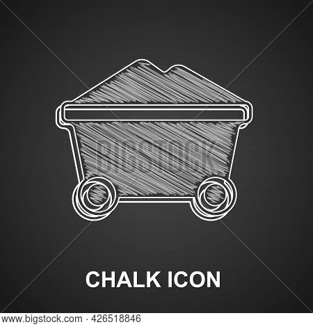 Chalk Coal Mine Trolley Icon Isolated On Black Background. Factory Coal Mine Trolley. Vector