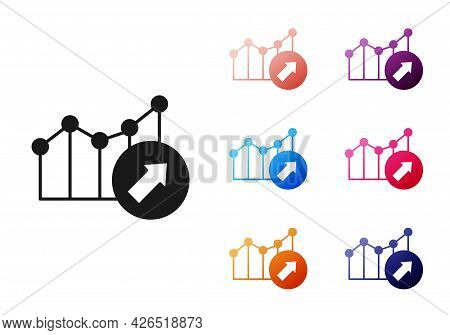 Black Financial Growth Increase Icon Isolated On White Background. Increasing Revenue. Set Icons Col