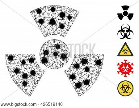 Mesh Radioactivity Polygonal Symbol Vector Illustration, With Black Infectious Items. Carcass Model