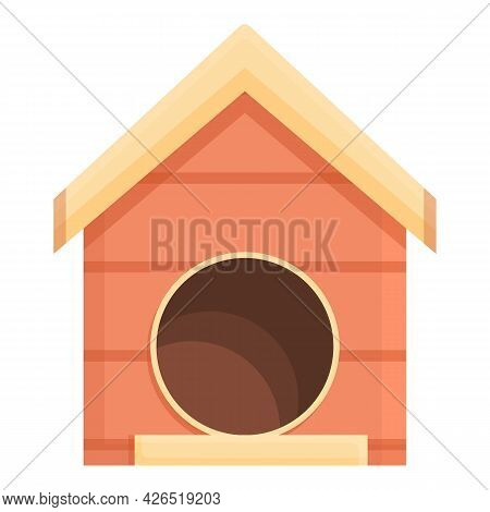 Backyard Dog Kennel Icon Cartoon Vector. Puppy House. Wooden Doghouse