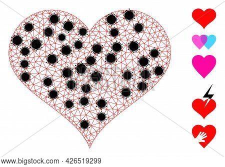 Mesh Love Heart Polygonal Symbol Vector Illustration, With Black Coronavirus Items. Carcass Model Is