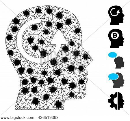 Mesh Remember Polygonal Icon Vector Illustration, With Black Infection Nodes. Model Is Based On Reme