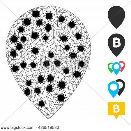 Mesh Map Marker Polygonal Icon Vector Illustration, With Black Infectious Elements. Carcass Model Is