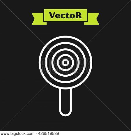 White Line Lollipop Icon Isolated On Black Background. Candy Sign. Food, Delicious Symbol. Vector