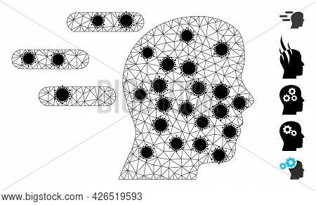 Mesh Rush Mind Polygonal Icon Vector Illustration, With Black Infection Nodes. Model Is Based On Rus