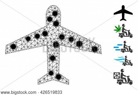 Mesh Airplane Polygonal Icon Vector Illustration, With Black Covid Nodes. Carcass Model Is Based On