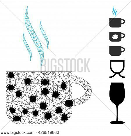 Mesh Hot Tea Cup Polygonal Icon Vector Illustration, With Black Virus Nodes. Carcass Model Is Based