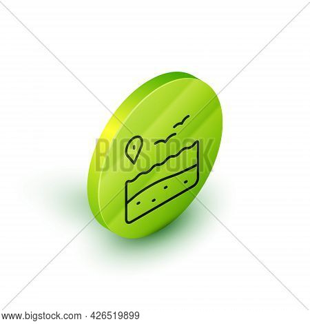 Isometric Line Location With Beach Icon Isolated On White Background. Tropical Beach Landscape. Good