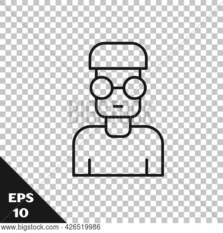 Black Line Nerd Geek Icon Isolated On Transparent Background. Vector