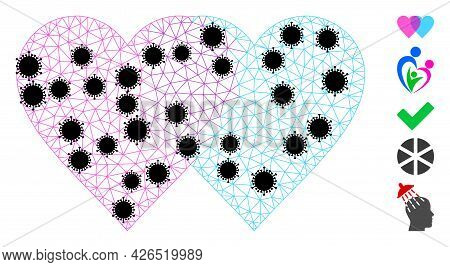 Mesh Lovely Hearts Polygonal Icon Vector Illustration, With Black Infectious Elements. Carcass Model