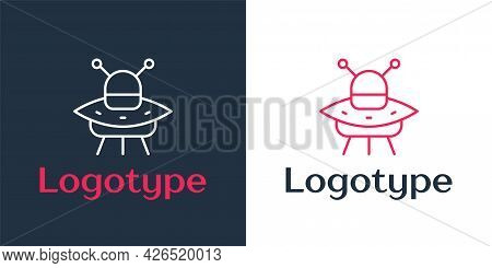 Logotype Line Ufo Flying Spaceship Icon Isolated On White Background. Flying Saucer. Alien Space Shi