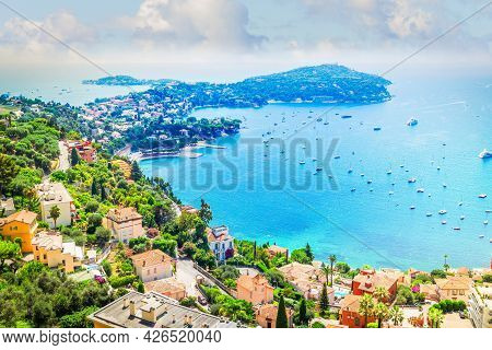 Colorful Coast And Clear Water With Boats And Ships, Cote Dazur Provence, France