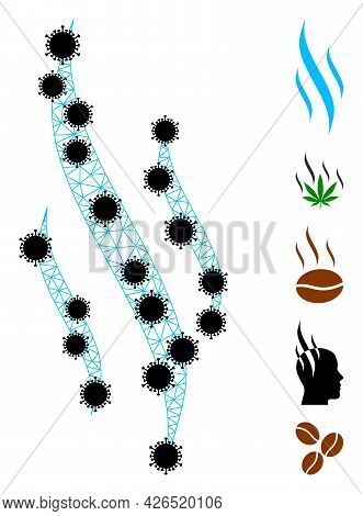 Mesh Aroma Polygonal 2d Vector Illustration, With Black Infection Items. Carcass Model Is Based On A