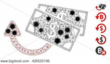 Mesh Dollar Banknotes Refund Polygonal 2d Vector Illustration, With Black Virus Elements. Carcass Mo