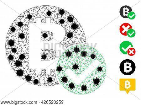 Mesh Accept Bitcoin Polygonal Symbol Vector Illustration, With Black Virus Elements. Model Is Based