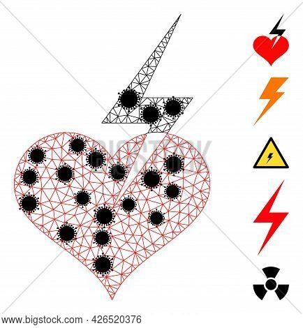 Mesh Heart Strike Polygonal Icon Vector Illustration, With Black Virus Elements. Model Is Created Fr