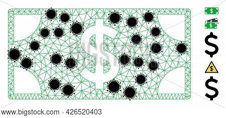Mesh Dollar Banknote Polygonal 2d Vector Illustration, With Black Coronavirus Elements. Carcass Mode