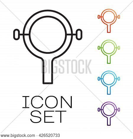 Black Line Filter Wrench Icon Isolated On White Background. The Key For Tightening The Bulb Filter T
