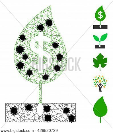 Mesh Dollar Sprout Polygonal Icon Vector Illustration, With Black Infection Centers. Model Is Create