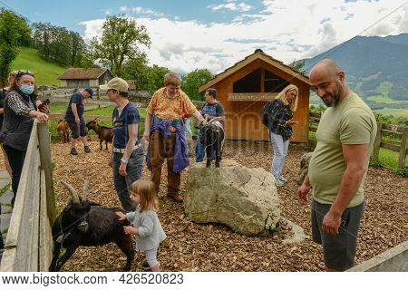 Maienfeld, Switzerland - 10 July 2021: People Visiting The Village Of Heidi Over Maienfeld On The Sw