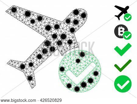 Mesh Accept Airplane Polygonal Icon Vector Illustration, With Black Coronavirus Items. Carcass Model
