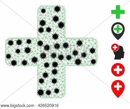 Mesh Green Cross Polygonal Symbol Vector Illustration, With Black Coronavirus Nodes. Carcass Model I