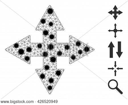 Mesh Expand Arrows Polygonal 2d Vector Illustration, With Black Infectious Centers. Abstraction Is C