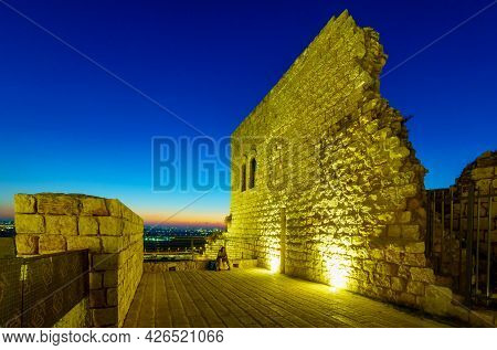 Rosh Haayin, Israel - July 08, 2021: Evening View From The Fortress Towards Gush Dan (the Urban Area