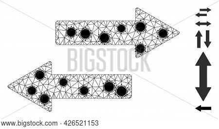 Mesh Horizontal Exchange Arrows Polygonal Icon Vector Illustration, With Black Covid Centers. Abstra