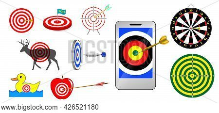 Set Of Realistic Target Arrow Concept Isolated Or Aim Of Dartboard Target Or Archery Target With Goa