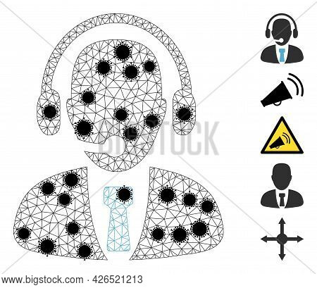 Mesh Call Center Operator Polygonal Icon Vector Illustration, With Black Infectious Items. Carcass M