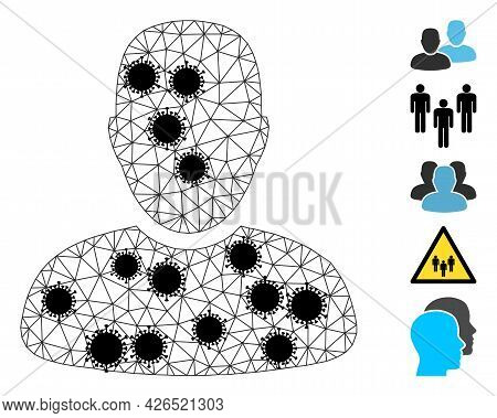 Mesh Clients Polygonal Icon Vector Illustration, With Black Virus Nodes. Model Is Created From Clien