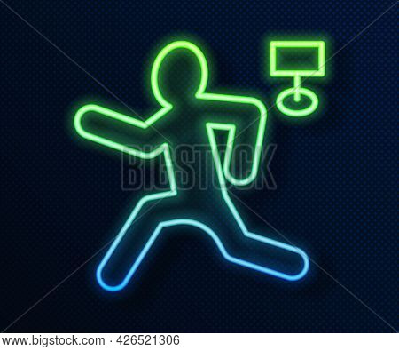 Glowing Neon Line Murder Icon Isolated On Blue Background. Body, Bleeding, Corpse, Bleeding Icon. Co