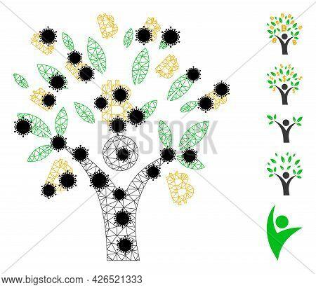 Mesh Bitcoin Tree Man Polygonal Icon Vector Illustration, With Black Coronavirus Nodes. Carcass Mode