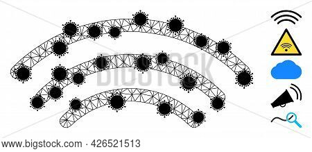 Mesh Radio Waves Polygonal Symbol Vector Illustration, With Black Infection Nodes. Carcass Model Is